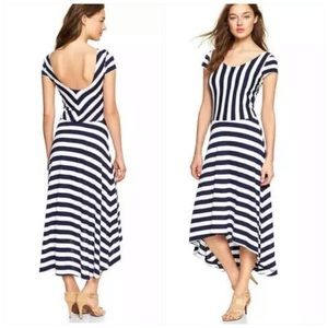 Gap Navy Blue White Striped Ballet Midi Dress L